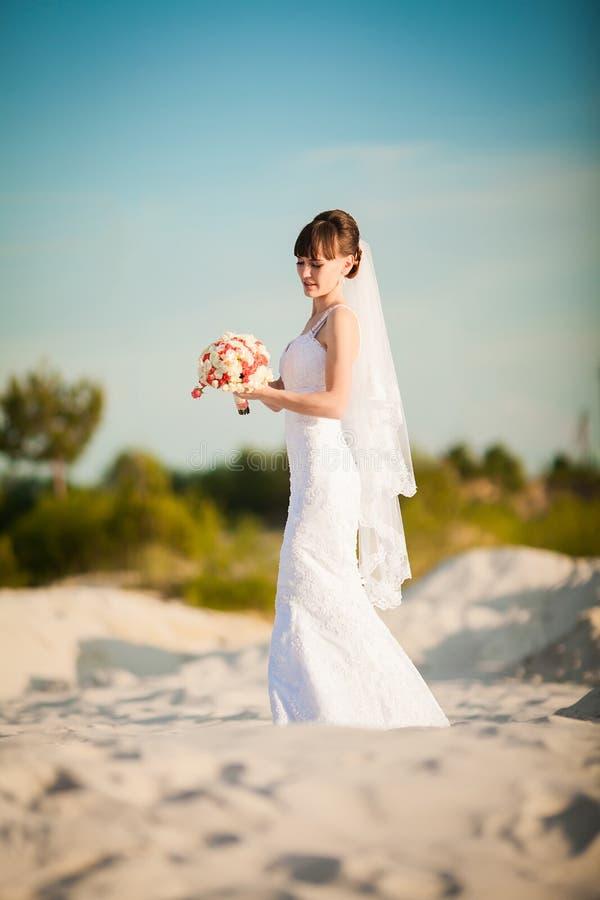 La sposa in un vestito da sposa in mezzo al deserto immagini stock libere da diritti