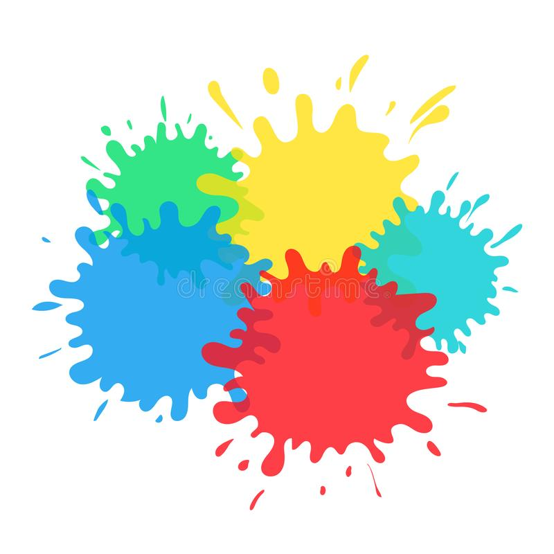 La spruzzata di colore giallo e verde di rosso blu macchia trasparente su fondo bianco illustrazione di stock