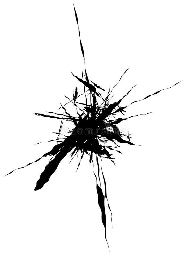 La spruzzata, schizza la forma isolata su bianco Silho fluido schizzato illustrazione vettoriale