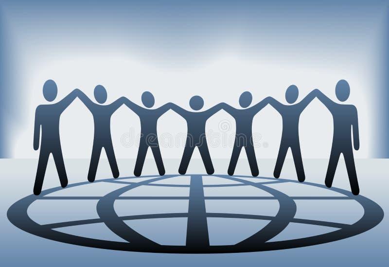 La squadra della gente sostiene il globo delle mani illustrazione vettoriale