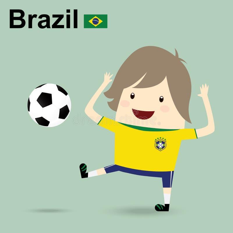 La squadra di football americano nazionale del Brasile, uomo d'affari felice sta giocando il socc illustrazione vettoriale