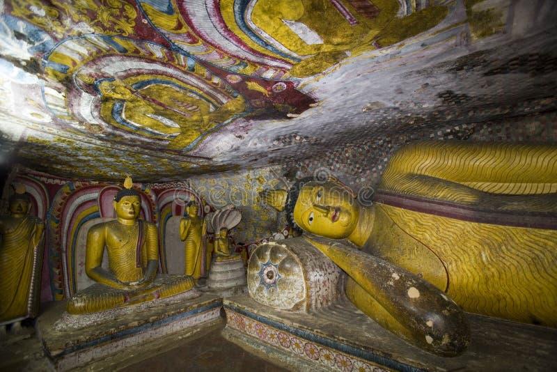 La Sri Lanka - tempiale buddista della caverna   fotografia stock