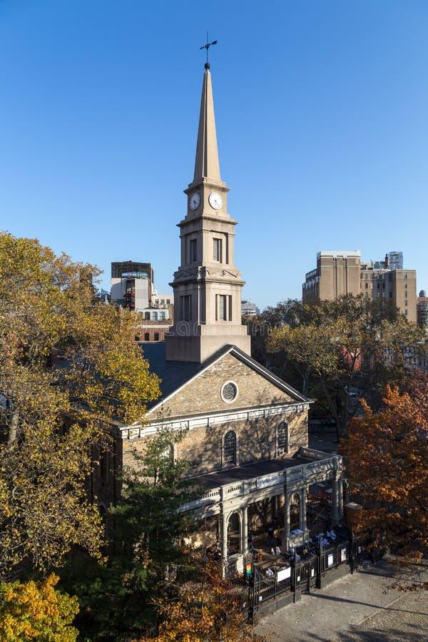 La st segna Chiesa-In--Bowery a New York fotografia stock libera da diritti
