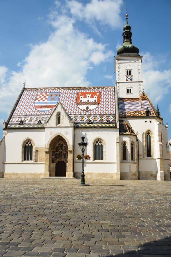 La st segna la chiesa a Zagabria immagini stock