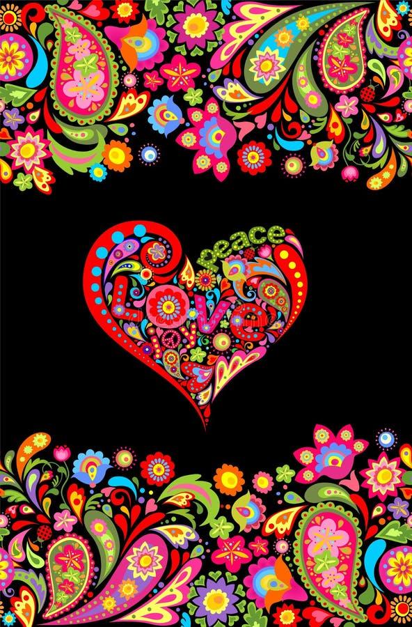 La stampa della maglietta di hippy con il confine senza cuciture dei fiori variopinti ed il cuore floreale modellano con pace, l' illustrazione di stock