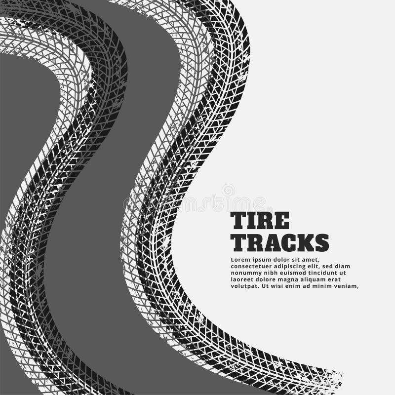 La stampa della pista della gomma segna il fondo illustrazione vettoriale