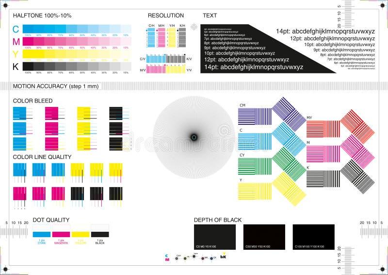 La stampa di calibratura segna CMYK illustrazione di stock