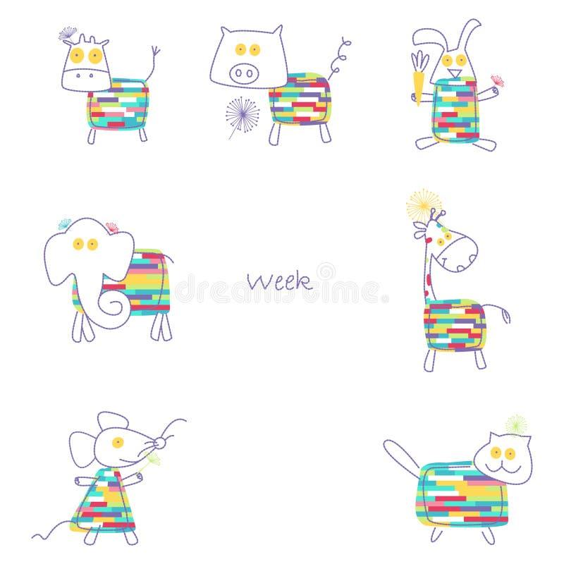 La stampa per la settimana dei bambini ha una serie di 7 animali royalty illustrazione gratis