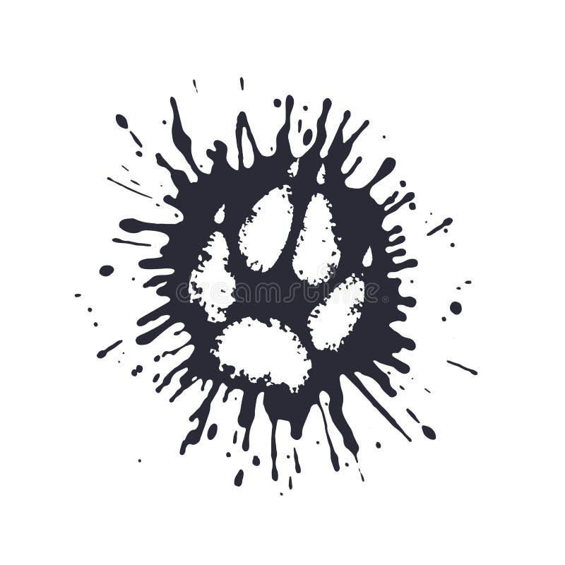 La stampa predatore della zampa fra il fango spruzza illustrazione di stock