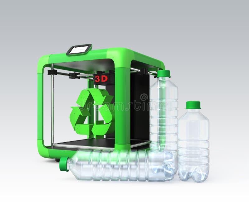 la stampante 3D e ricicla il segno isolato su fondo grigio illustrazione vettoriale