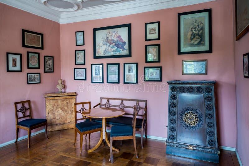 La stanza alla Camera di Goethe a Weimar, Germania immagini stock