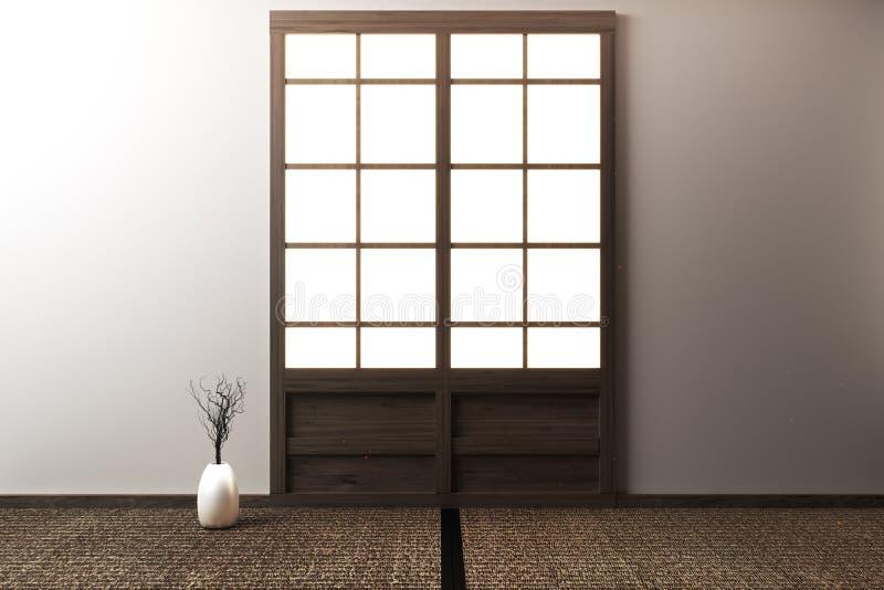La stanza alta falsa vuota con le stuoie di Tatami ed i portelli scorrevoli di carta ha chiamato Shoji su stile di zen della stan illustrazione vettoriale