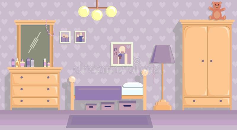 La stanza degli adolescenti in lill? Immagine di vettore nello stile piano di progettazione illustrazione di stock
