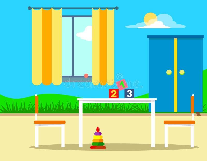 La stanza dei bambini con un modello sulla parete, su un guardaroba e su una tavola con le sedie Illustrazione allegra e luminosa illustrazione vettoriale