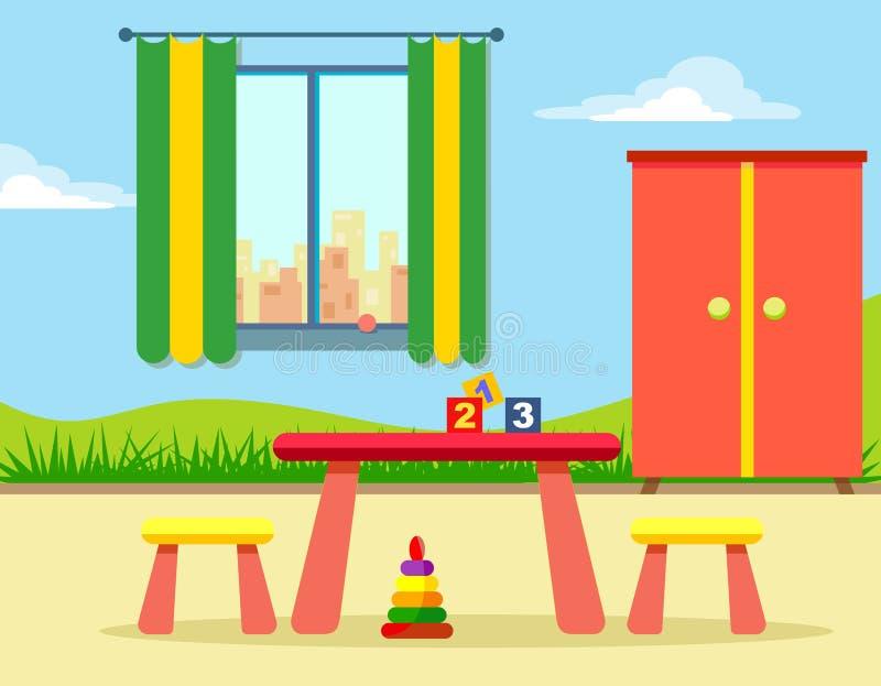 La stanza dei bambini con un modello sulla parete, su un guardaroba e su una tavola con le sedie Illustrazione allegra e luminosa royalty illustrazione gratis
