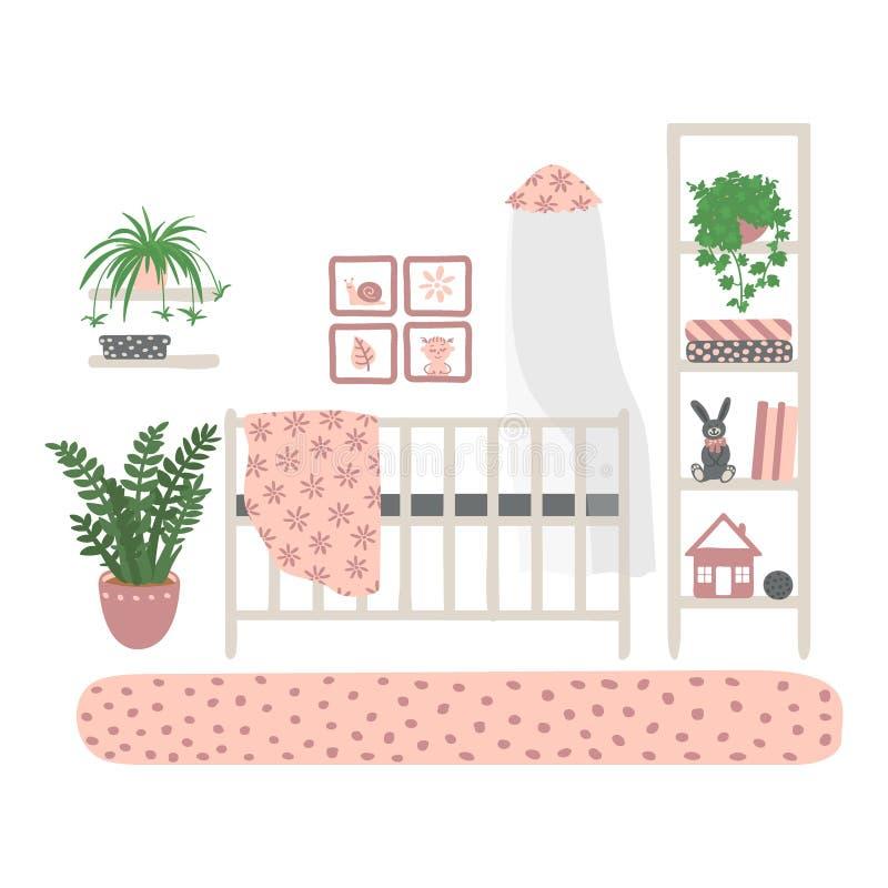 la stanza dei bambini interna Un insieme di mobilia per la stanza della ragazza Mobilia isolata su fondo bianco Disegnato a mano illustrazione vettoriale