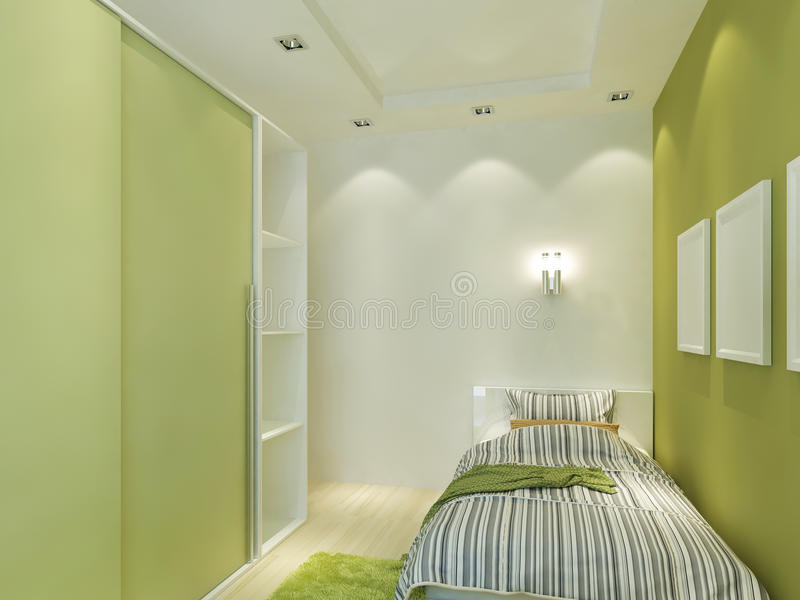 La stanza dei bambini moderna con il soffitto ed i riflettori falsi illustrazione vettoriale