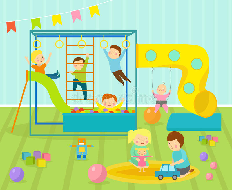 La stanza dei giochi dei bambini con il campo da giuoco for Decorazione stanza bambini