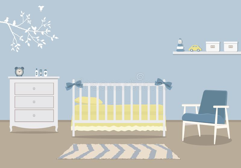 La stanza del bambino per un neonato Camera da letto interna per un neonato in un colore blu royalty illustrazione gratis