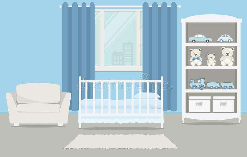 La stanza del bambino per un neonato Camera da letto interna per un neonato in un colore blu illustrazione vettoriale