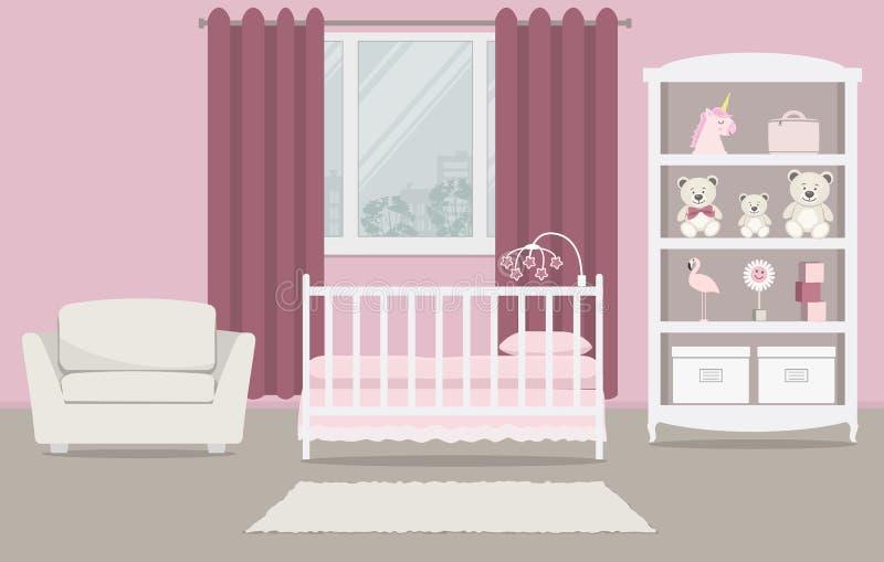 La stanza del bambino per un neonato Camera da letto interna per una neonata in un colore rosa illustrazione di stock