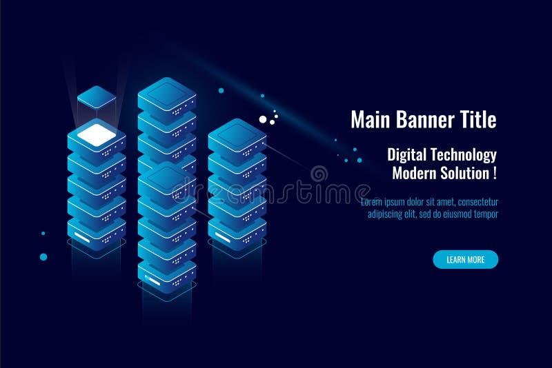 La stanza del server, la grande elaborazione dei dati dell'icona isometrica, dati si appanna il magazzino di stoccaggio, concetto royalty illustrazione gratis