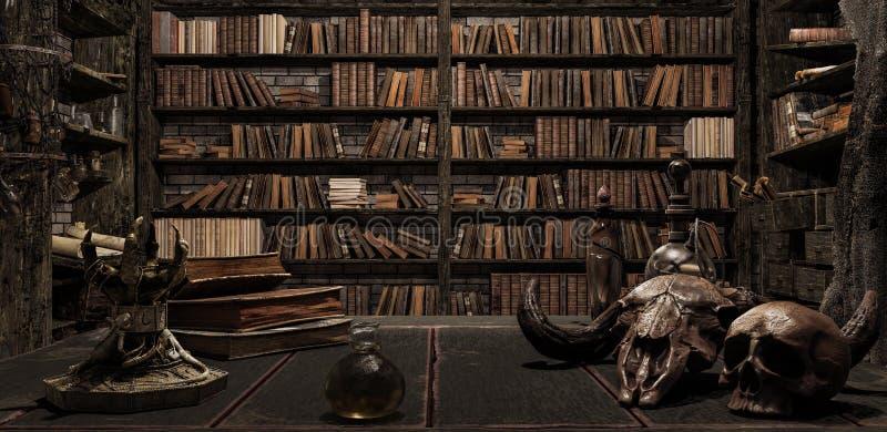 La stanza dello stregone con la biblioteca, i vecchi libri, la pozione e le cose spaventose 3d rendere illustrazione vettoriale