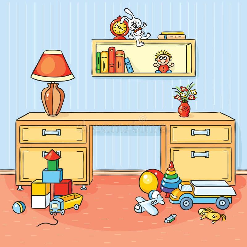 La stanza di bambini con molti giocattoli ha sparso sul pavimento illustrazione di stock