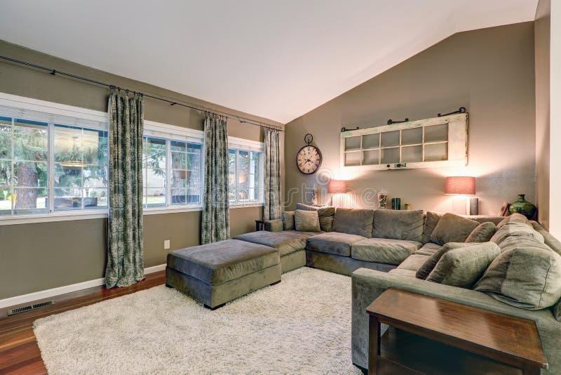 La stanza di famiglia del soffitto arcato con il taupe mura il colore della pittura immagine stock libera da diritti