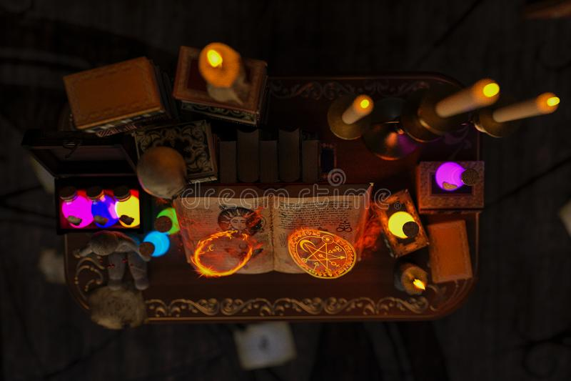 La stanza mistica o la stanza di studio dell'alchimista con le candele, libri, bottiglie e simboli alchemical, con zumma sul libr illustrazione vettoriale