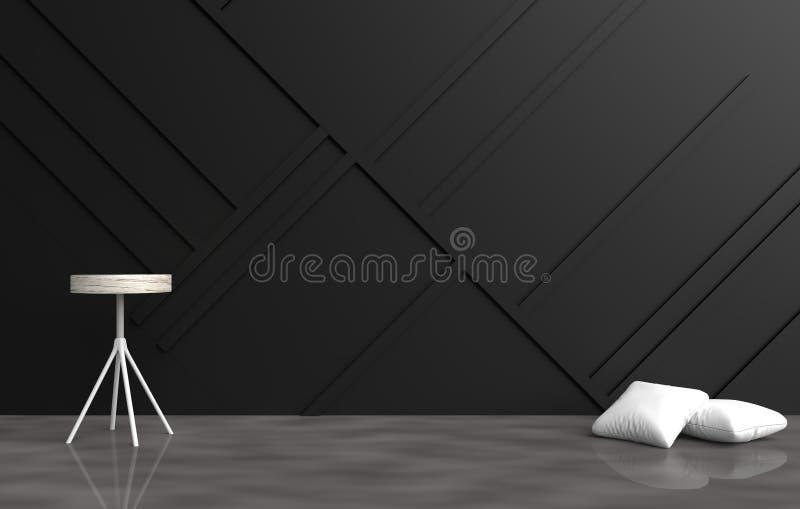 La stanza vuota grigia è decorata con i cuscini bianchi, la sedia grigia, parete che di legno nera è impianto a scacchiera ed il  fotografia stock