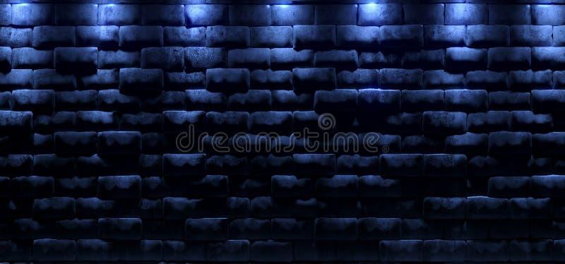 La stanza vuota scura con le luci blu che emettono luce nel mattone della roccia vecchio macera illustrazione vettoriale