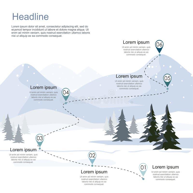 La station de sports d'hiver d'hiver, conduisent infographic Couches de paysage de montagne avec la forêt de sapin illustration libre de droits