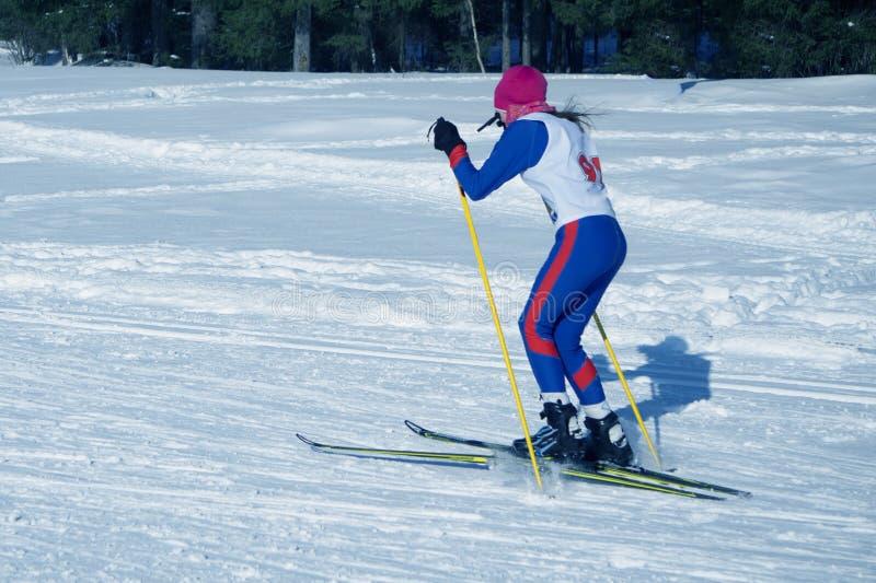 La station de sports d'hiver de groupe de skieur de fille de skis va la distance photographie stock