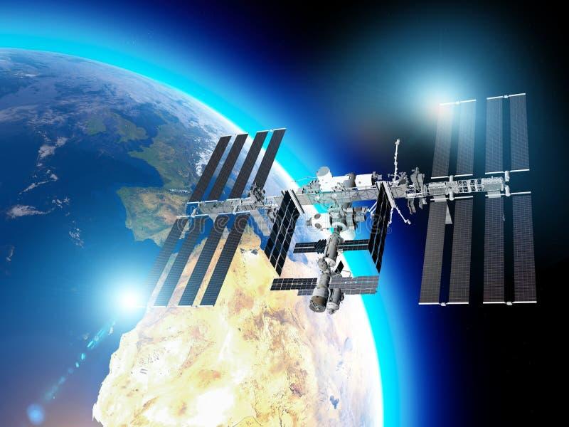 La Station Spatiale Internationale ISS est une station spatiale, ou un satellite artificiel habitable, dans la basse orbite terre illustration libre de droits