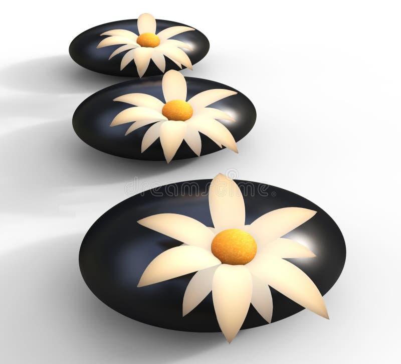 La station thermale lapide la floraison et la sérénité de fleurs de moyens illustration de vecteur