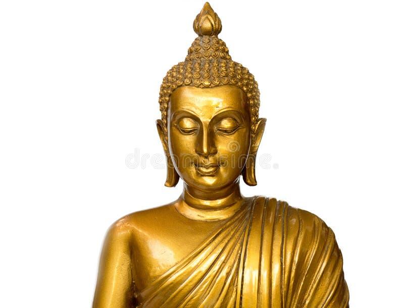 La statua antica dorata di Buddha sui precedenti bianchi ha isolato il fondo Il fronte del Buddha è fronte diritto Copyspace per fotografie stock libere da diritti