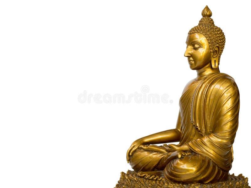 La statua antica dorata di Buddha sui precedenti bianchi ha isolato il fondo Il fronte del Buddha si ? girato verso il diritto fotografia stock libera da diritti