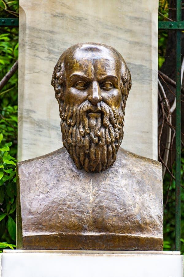 La statua bronzea del poeta tragico greco Aeschylus fotografia stock