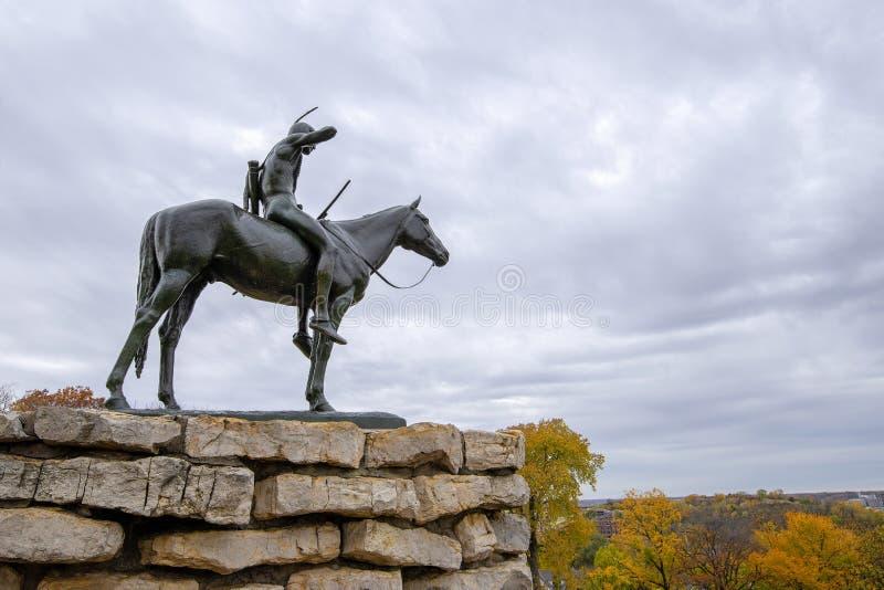 La statua dell'esploratore, Kansas City Missouri fotografia stock