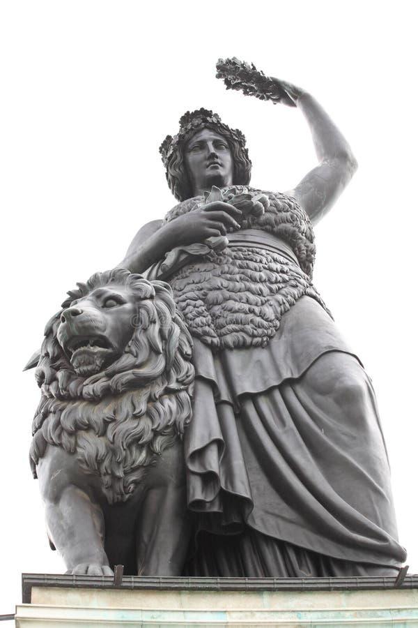 La statua della Baviera al luogo di Oktoberfest fotografia stock libera da diritti