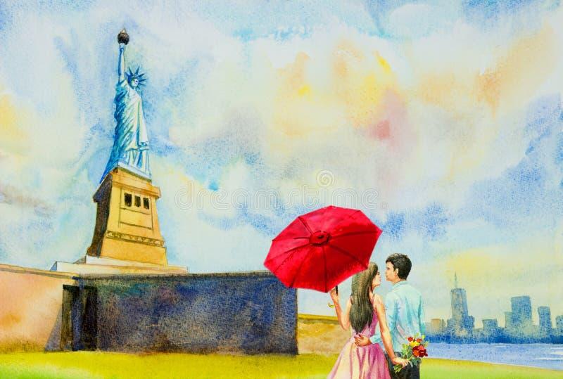 La statua della libertà, pittura dell'acquerello illustrazione di stock