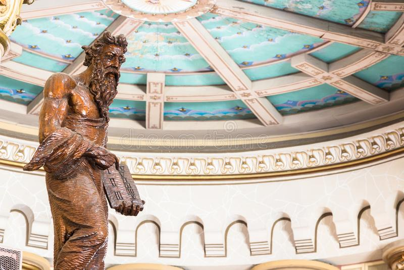 La statua dentro la chiesa di Matriz, Igreja di Mosè fa Santissimo Sacr immagine stock