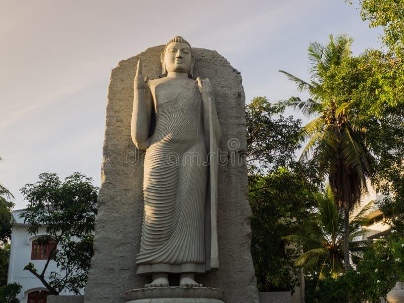 La statua diritta di Buddha a Colombo, Sri Lanka fotografia stock libera da diritti