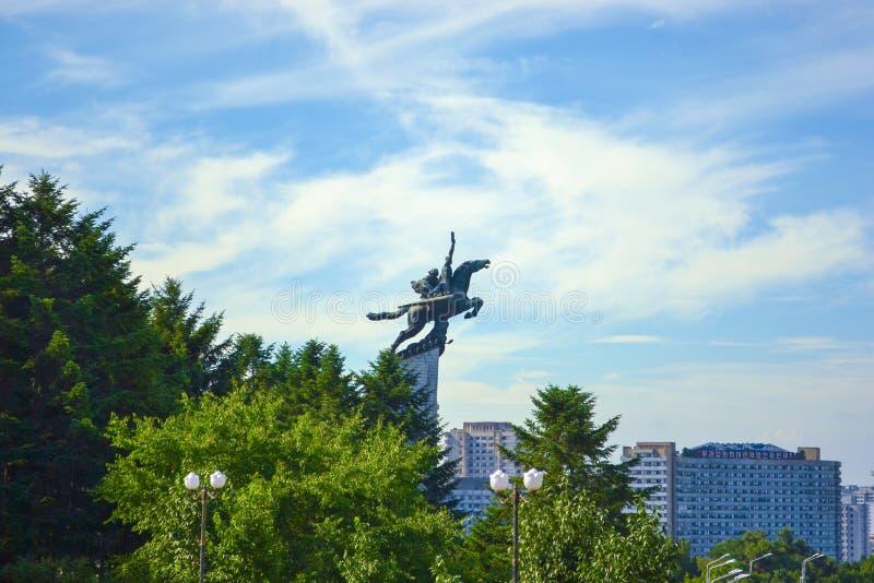 La statue célèbre Chollima dans la ville de Pyong Yang, la capitale de la Corée du Nord images stock