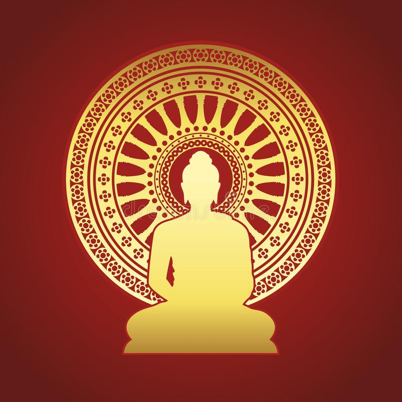 La statue de Bouddha d'or et la roue de Dharmachakra du dhamma se connectent la conception rouge-brun de vecteur de fond illustration libre de droits