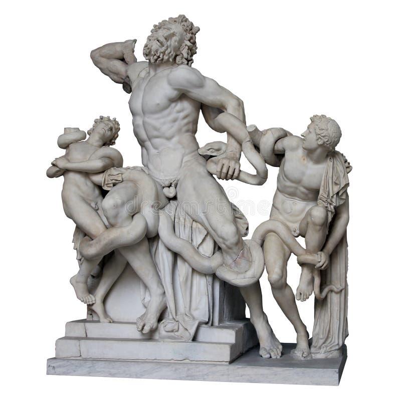 La statue de marbre romaine antique de Laocoon et ses fils ont isolé le whi photo libre de droits