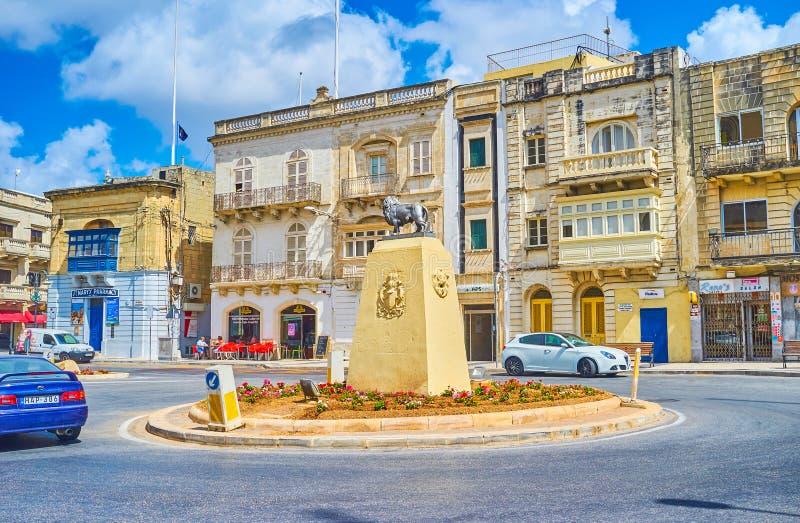 La statue du lion dans Mosta photographie stock libre de droits