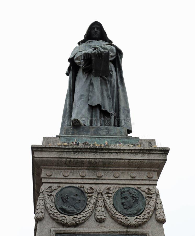 la statue du moine italien a appelé GIORDANO BRUNO était aliv brûlé image libre de droits