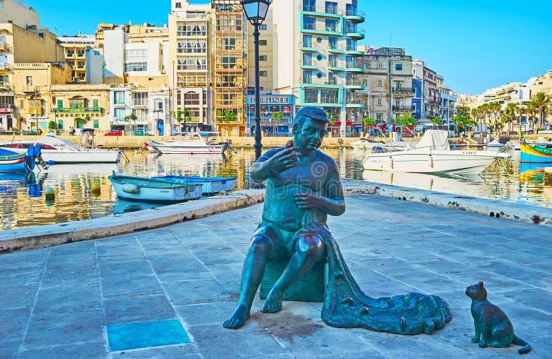 La statue du pêcheur maltais, St Julian, Malte photos libres de droits